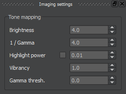 Some of Chaotica's imaging settings