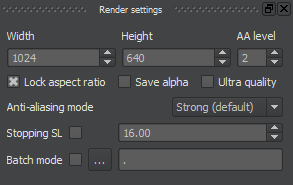 Chaotica's render settings